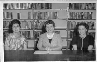 Black and white image of the Melville Library Trustees: Mrs. McAdam, Mrs. Freeze, and Mrs. Gross.