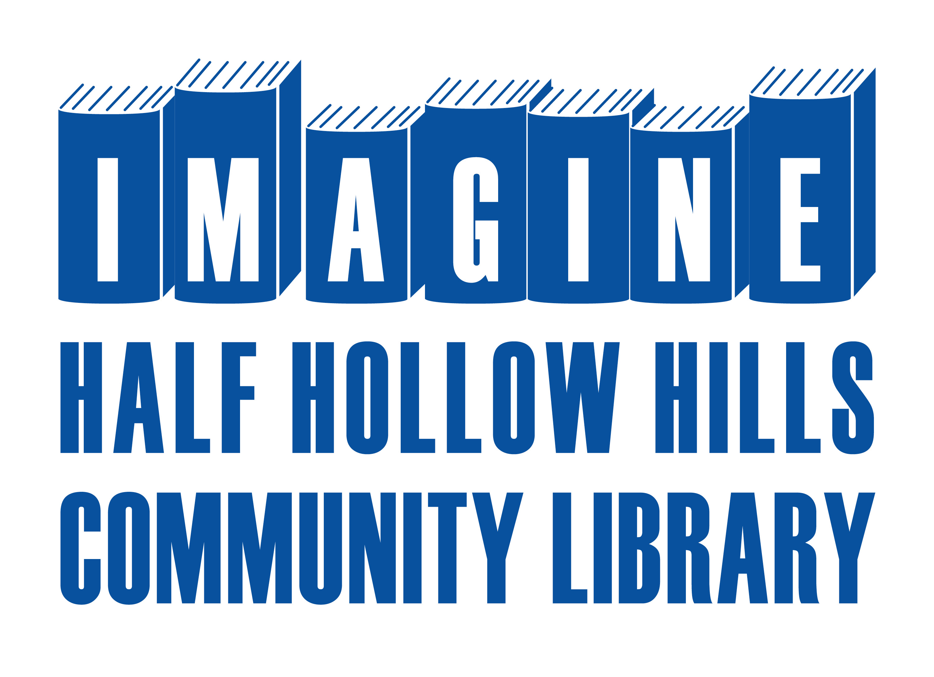Imagine Half Hollow Hills Community Library spelled out.  Imagine is spelled out on the spine of books.  This is the library logo.