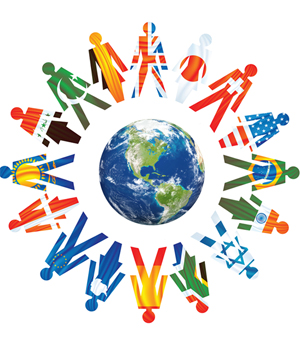 Clipart image of planet earth in the middle surrounded by silhouette figures joining hands and on the silhouettes, are faint images of all different flags of many nations.