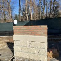 Brick mock-up of exterior: Brick, Cordova and Cast Stone