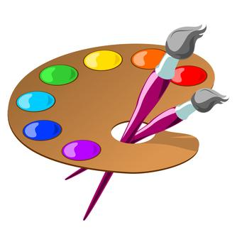 Clip art picture of an artist's palate with paint colors and two paint brushes