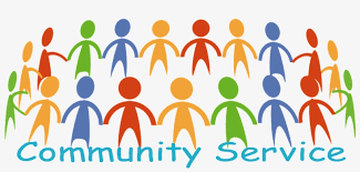 clipart picture of stick figures holding hands in a circle with the word Community Service written out.