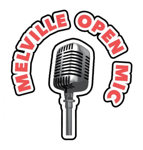 Clip art image of an old fashioned microphone and around it are the words Melville Open Mic written out in red.