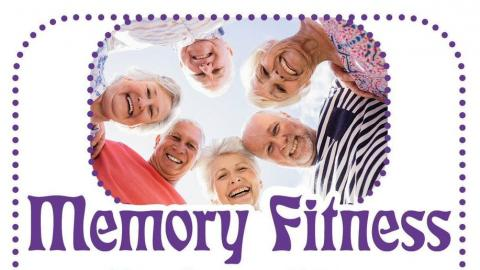 Senior Citizens in a circle smiling with the words memory fitness spelled out in bold letters.