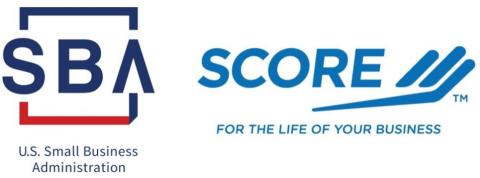 US Small Business Administration (SBA) and SCORE, a resource partner with SBA Logo