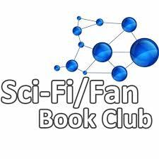 Sci-Fi/Fan Book Club spelled out with a chemistry compound symbol that has blue balls that look like a galaxy planet on the ends.