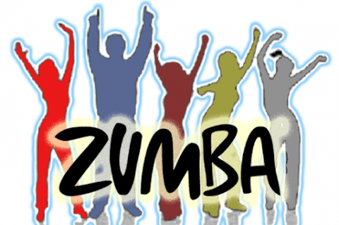 The word Zumba boldly written. The background features silhouettes with hands raised in the air.