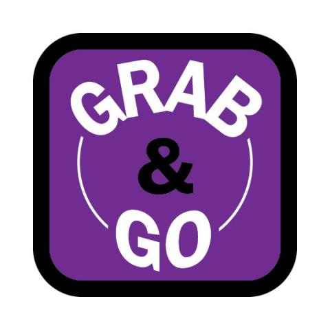 Grab & Go written out in a purple square.