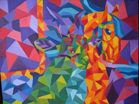 Colorful picture of cubism art.