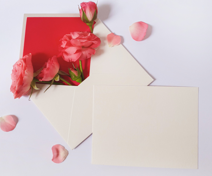 greeting card envelope with flowers