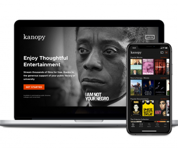 kanopy displayed on laptop and mobile screens