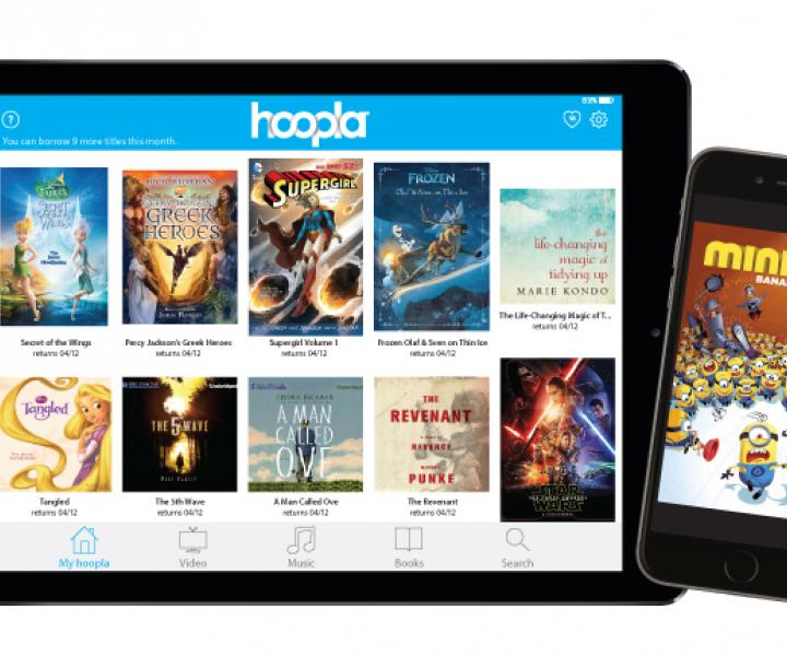 hoopla displayed on tablet and mobile screens